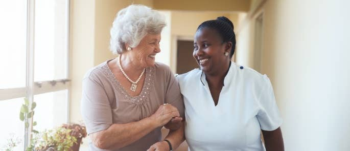 Residential care worker and elderly lady