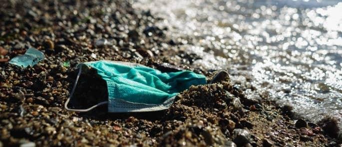 Healthcare waste on a beach coast