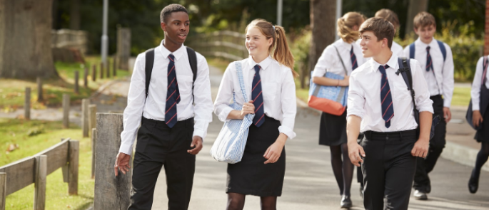 A group of students heading into school