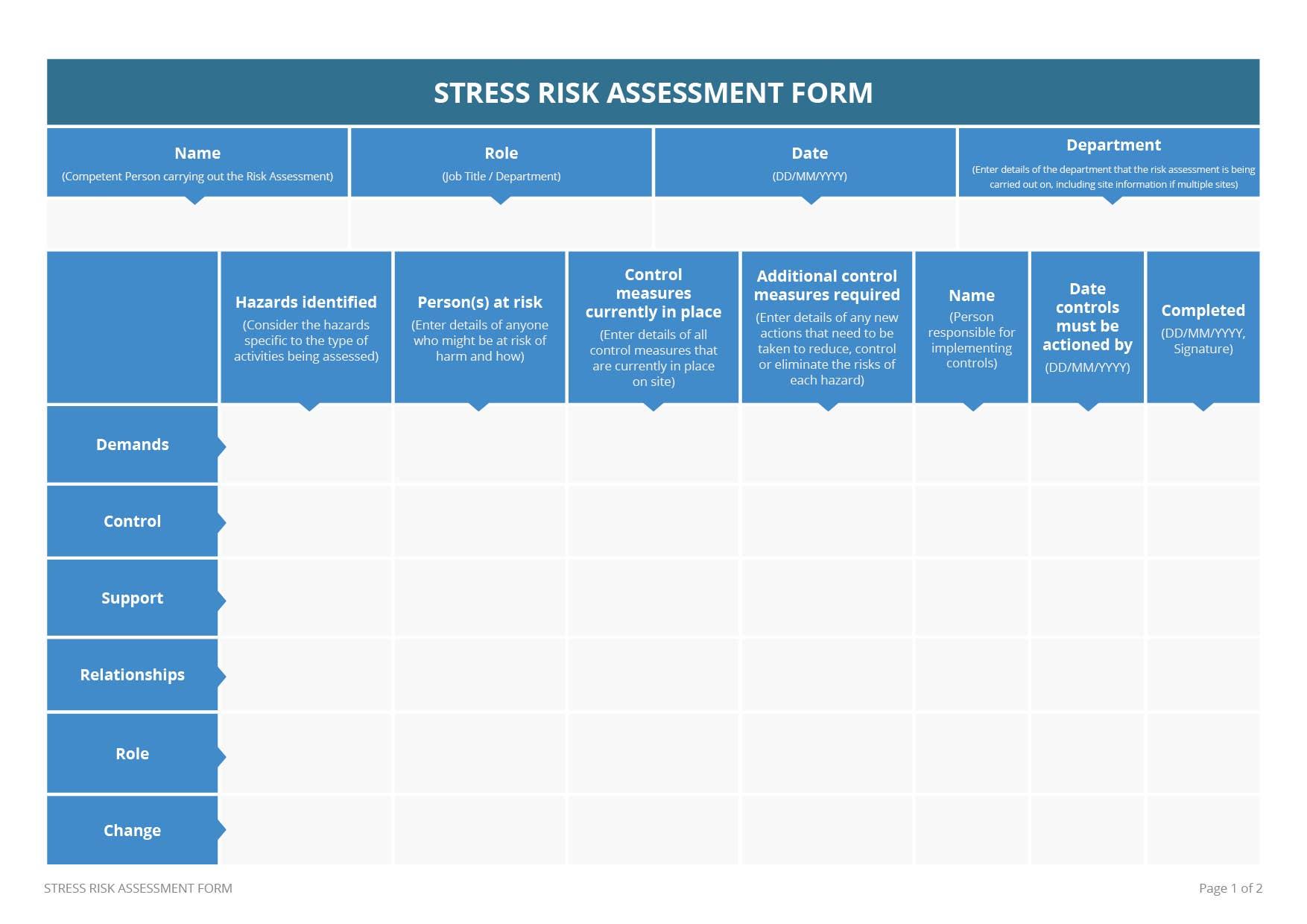 Stress Risk Assessment Template