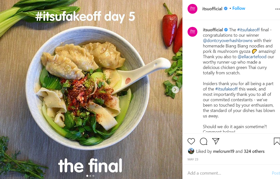 itsu restaurant social media competition