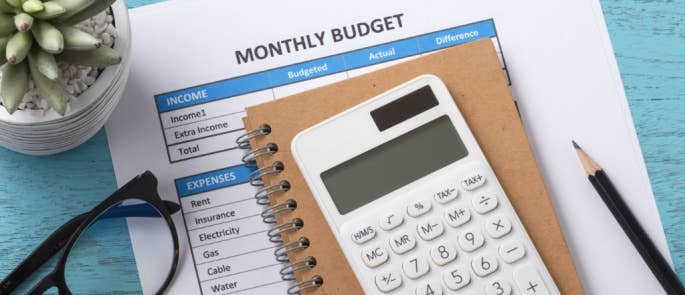 Preparing to work out monthly budgets using a calculator