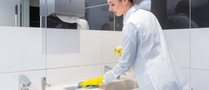Employee cleaning bathroom