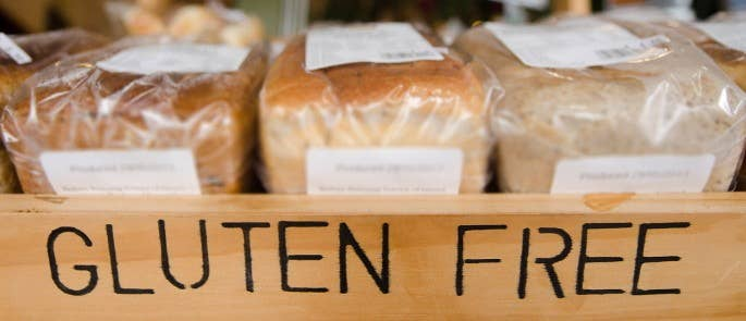 Gluten free bread offered for sale in a shop
