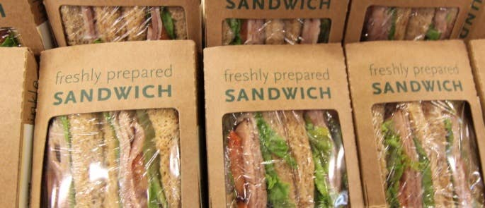 Freshly made sandwiches in a grab and go counter