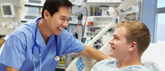 Nurse and patient discussing care