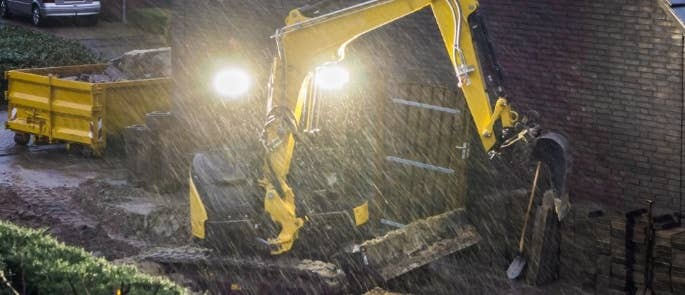 Construction work in rain