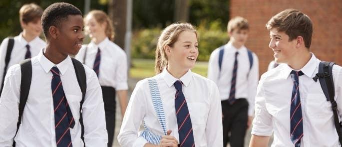 School children outside talking