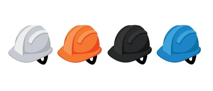 Hard hats colour codes white orange black blue