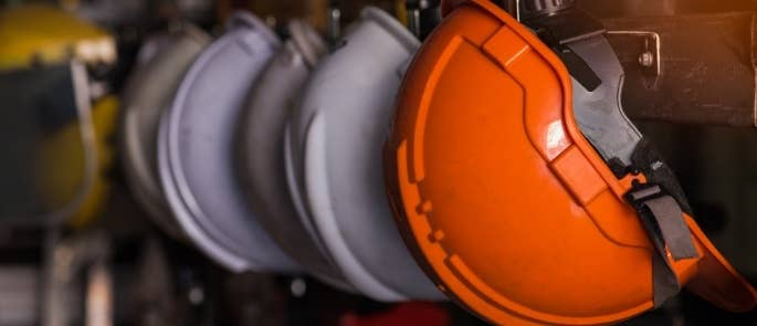 Hard hats orange and white