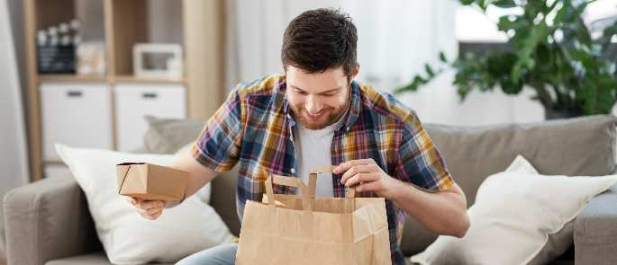 Man with Takeaway Food