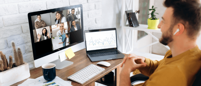 A remote worker hosting a group video call online