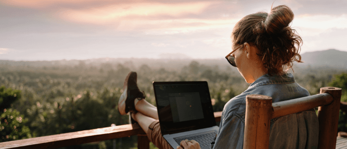 Female working remotely on her laptop