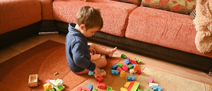 Young child playing with bricks on living room floor.