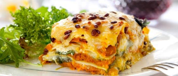 Plate with vegetarian lentil lasagne