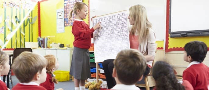 Pupil talking about number chart in front of class