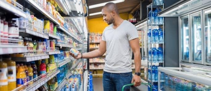 Man shopping at supermarket