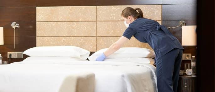 Housekeeping in a hotel room