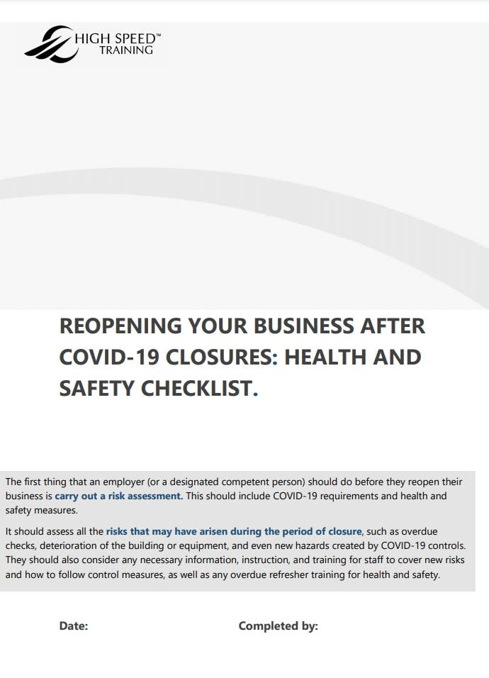 health and safety checklist for businesses reopening after covid page 1