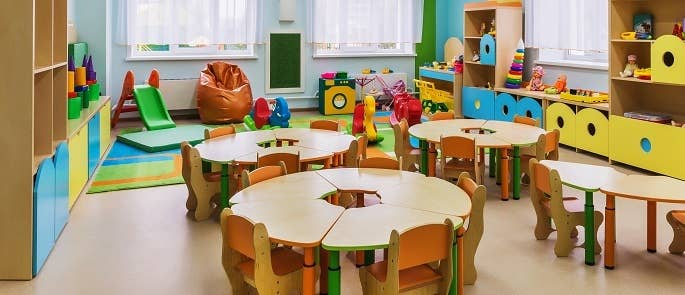 Tables and chairs in a nursery business