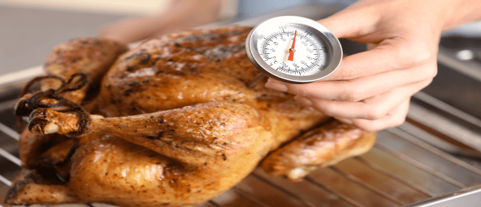 Checking the temperature of chicken