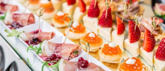 Food catering business offering a variety of canapes