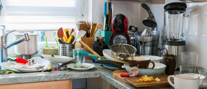 Messy kitchen as a result of self-neglect