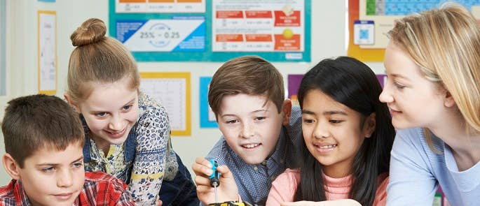 Pupils learning in the classroom