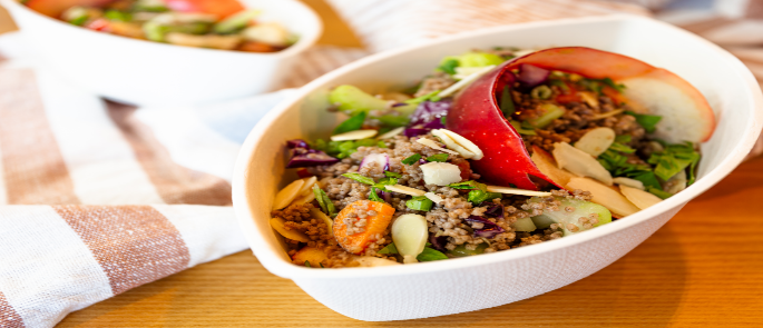 Biodegradable bowl used as a type of sustainable food packaging
