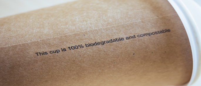 Sustainable food packaging claim on a cup