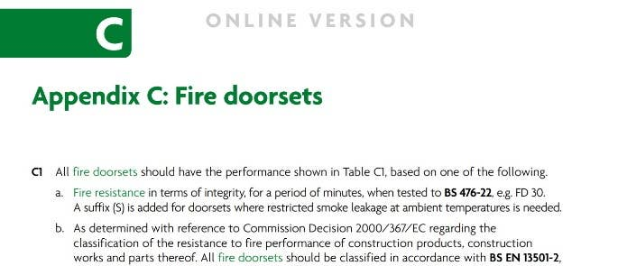 Appendix C fire safety document fire doors