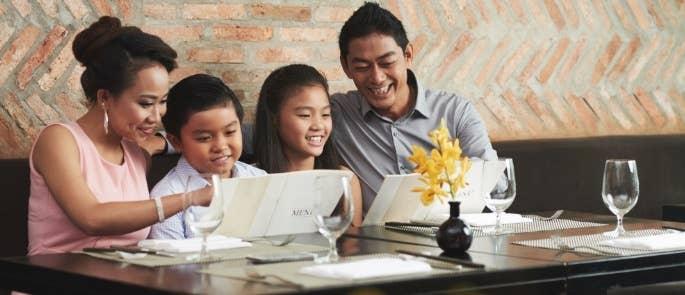 Family in Restaurant