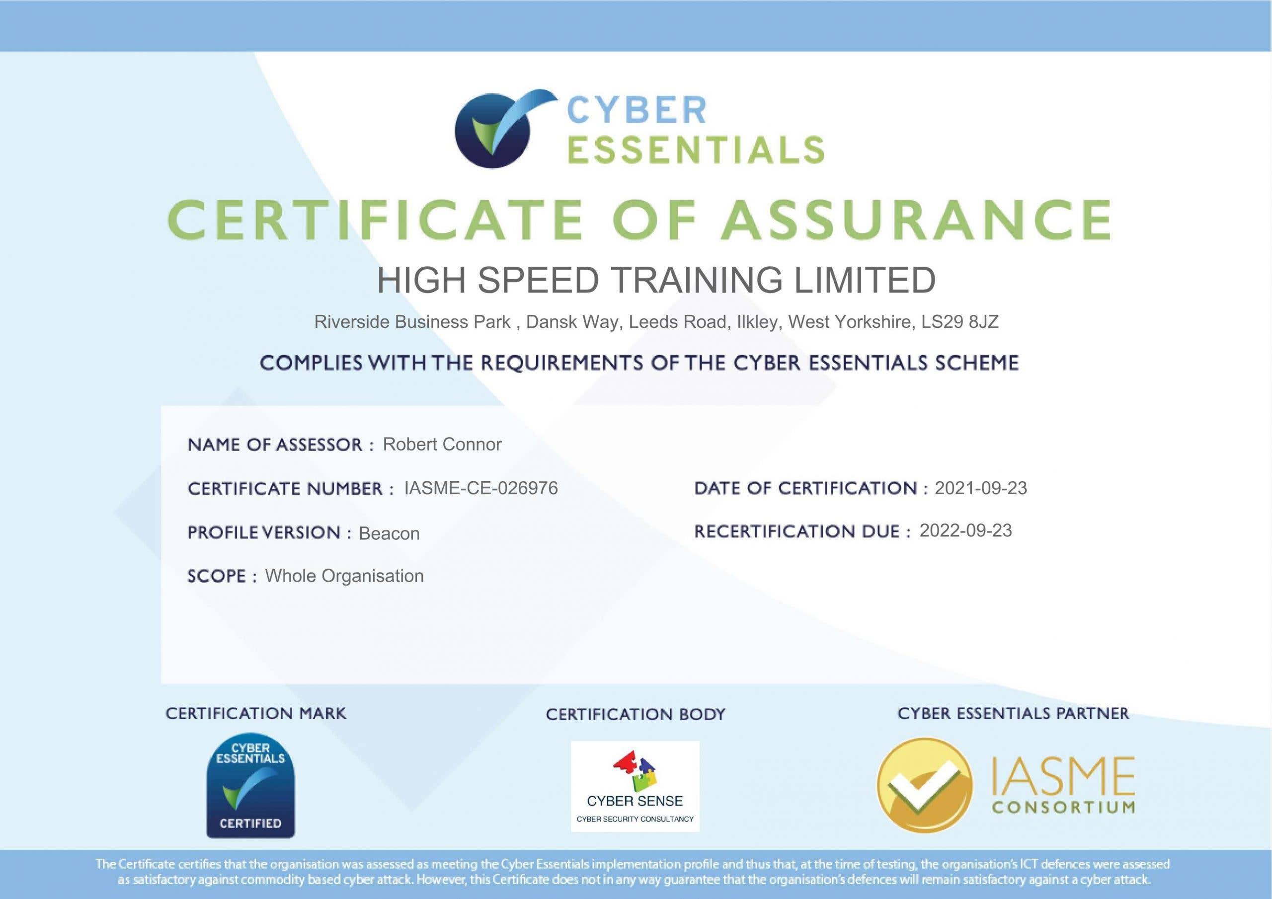 High Speed Training's official certificate